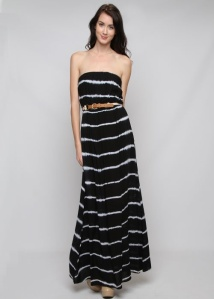 Dip Dyed Modern Boho Belted Maxi Tube Dress-Black